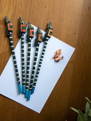 Handcrafted Wooden Pencils (Set of 5) - Elephants