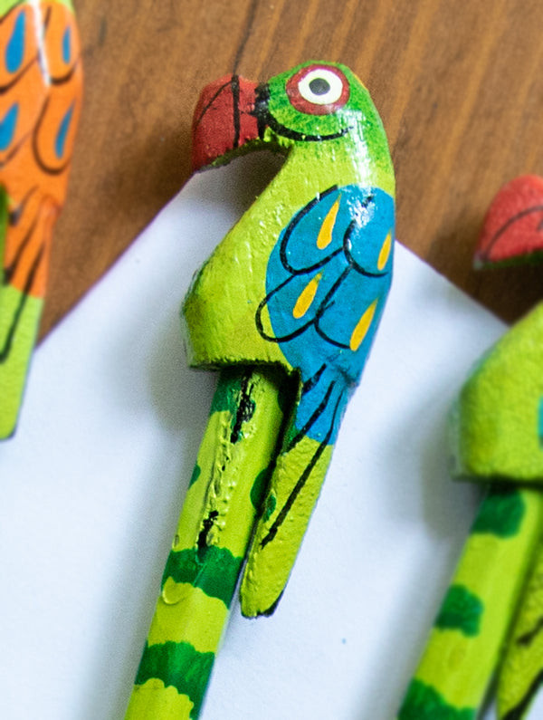 Handcrafted Wooden Pencils (Set of 4) - Parrots - The India Craft House