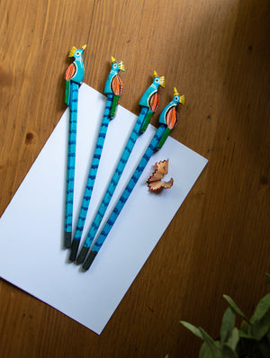 Handcrafted Wooden Pencils (Set of 4) - Peacocks - The India Craft House