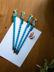 Handcrafted Wooden Pencils (Set of 4) - Peacocks