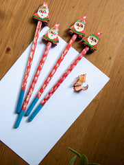 Handcrafted Wooden Pencils (Set of 4) - Santa Claus