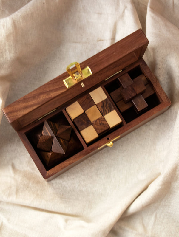 Handcrafted Wooden Puzzles With Box (Set of 3)
