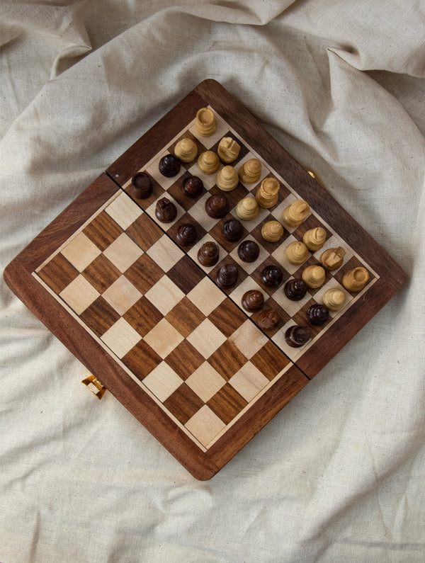 Handcrafted Wooden Travel Chess Set
