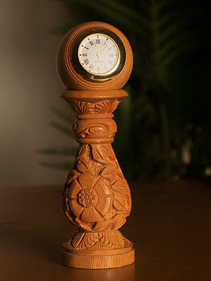Handcrafted Kadam WoodDesk Clock on Stand