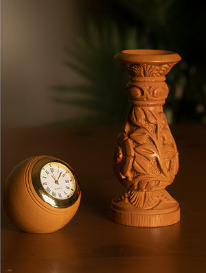 Handcrafted Kadam WoodDesk Clock on Stand - The India Craft House