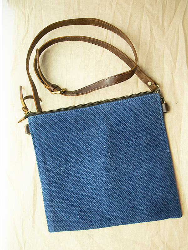 Handcrafted Leather & Burlap Cross-Body Bag with Hand Stitch Detail - The India Craft House