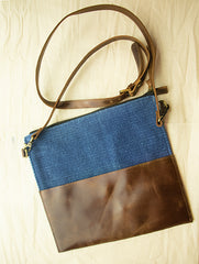 Handcrafted Leather & Burlap Cross-Body Bag with Hand Stitch Detail