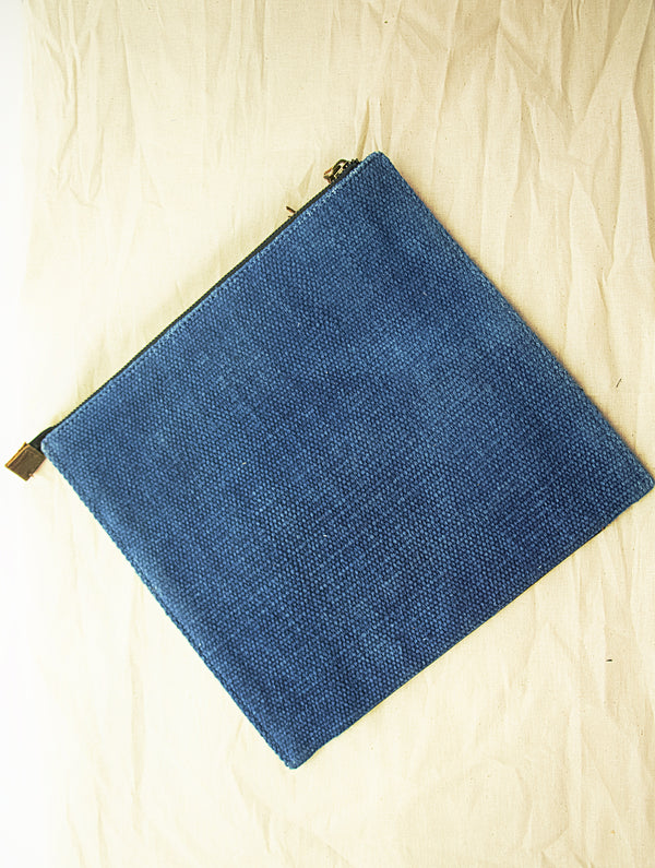 Handcrafted Leather & Burlap iPad Cover / Hand Pouch with Hand Stitch Detail - The India Craft House