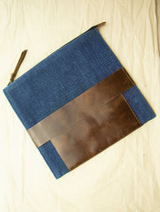 Handcrafted Leather & Burlap iPad Cover / Hand Pouch with Hand Stitch Detail