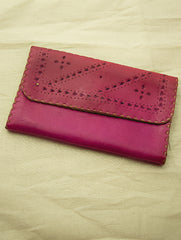 Handcrafted Leather Clutch / Fold-Out Wallet with Hand Stitch Detail