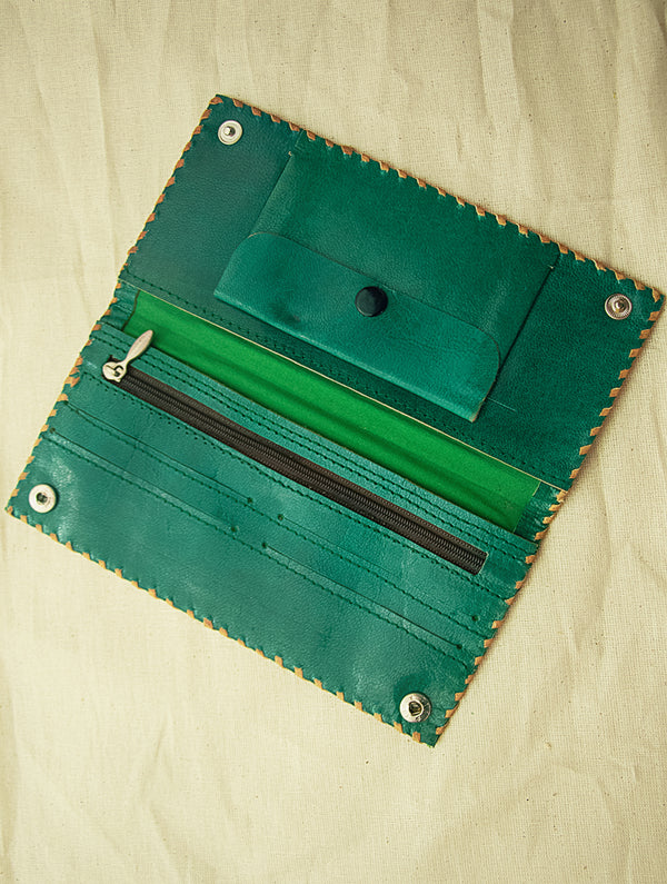 Handcrafted Leather Clutch / Wallet with Hand Stitch Detail - The India Craft House