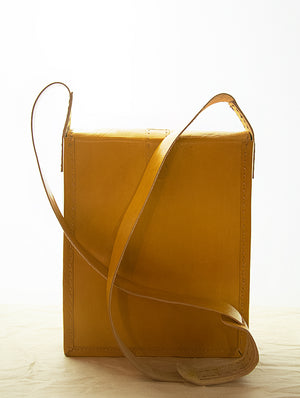 Handcrafted Leather Cross-Body Bag with Hand Stitch Detail - The India Craft House