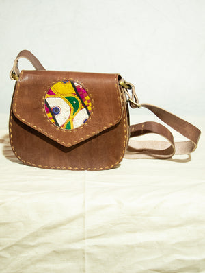 Handcrafted Leather Cross-Body Bag with Kutch Embroidered Patch & Hand Stitch Detail - The India Craft House