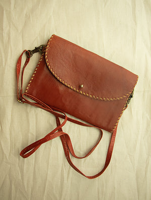 Handcrafted Leather Cross-Body Sling Bag - Small with Hand Stitch Detail - The India Craft House