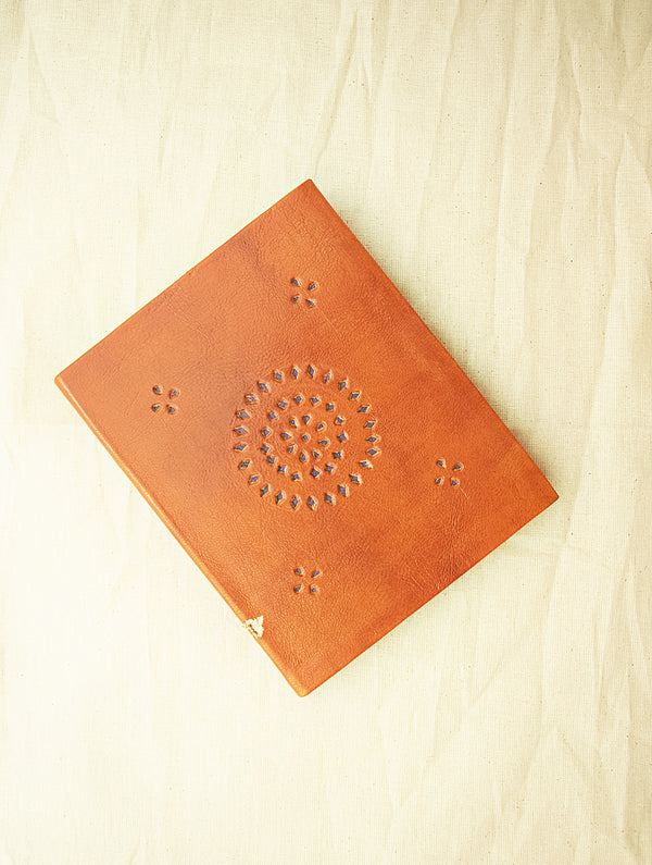 Handcrafted Leather Diary with Cutwork Detail and Handmade Paper - The India Craft House