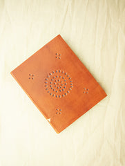 Handcrafted Leather Diary with Cutwork Detail and Handmade Paper