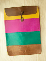 Handcrafted Multi-Coloured Leather Laptop Sleeve