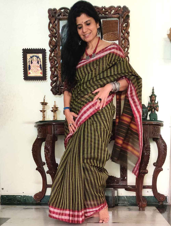 Handloom Fine Cotton Narayanpeth Andhra Saree (With Blouse Piece)