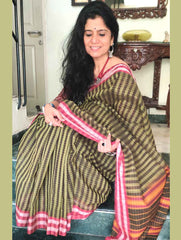 Ethnic Charm. Handloom Fine Cotton Narayanpeth Andhra Saree (With Blouse Piece)