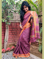 Striped Elegance. Handloom Fine Cotton Narayanpeth Andhra Saree (With Blouse Piece)