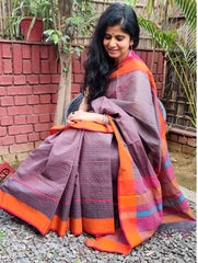 Stunning in Grey. Handloom Fine Khadi Cotton Andhra Saree (With Blouse Piece)