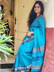 Vibrant in Blue. Handloom Fine Khadi Cotton Andhra Saree (With Blouse Piece)