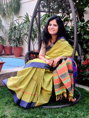 Fresh & Summery. Handloom Fine Khadi Cotton Narayanpeth Andhra Saree (With Blouse Piece)