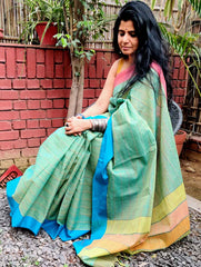 Fresh & Summery. Handloom Fine Khadi & Cotton Narayanpeth Andhra Saree (With Blouse Piece)