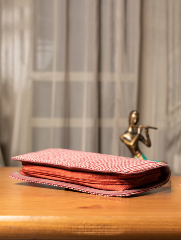 Handloom Fabric  - Multi-Compartment Wallet Bag - The India Craft House