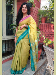 Fresh & Summery. Handwoven Fine Cotton Narayanpeth Andhra Saree