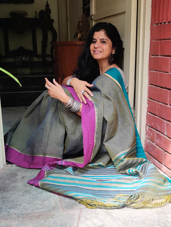 Handwoven Fine Cotton Narayanpeth Andhra Saree