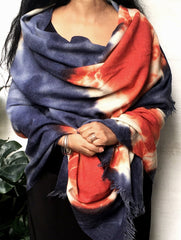 Handwoven Tie & Dye Pure Wool Shawl