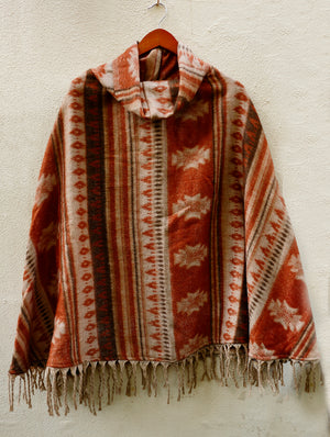 Heavy Wool Poncho - Aztec design - The India Craft House 1