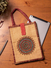 Jute Fabric iPad / Tablet Case With Zardozi / Dabka Embroidery & Handles - 11 x 8.5 inches