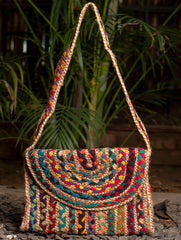 Jute Sling Bag With Flap