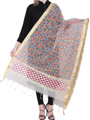 Jute Cotton Madhubani Painted Dupatta - Fish Motifs