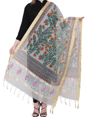 Jute Cotton Madhubani Painted Dupatta - Floral Theme