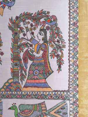 Jute Cotton Madhubani Painted Dupatta with Woven Colored Border - Women Gathering Flowers