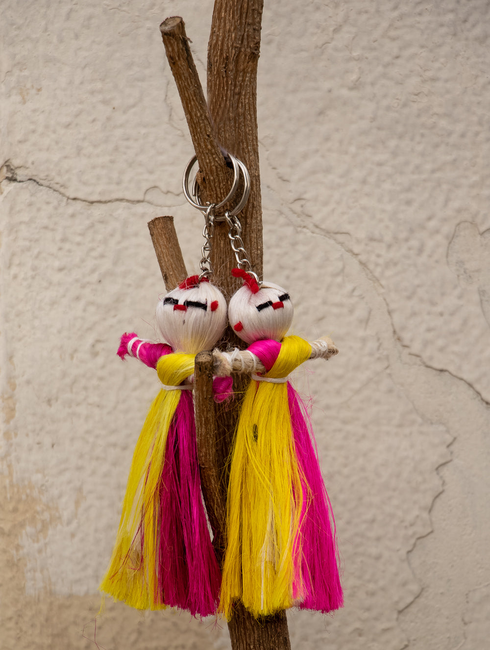 Jute Craft Doll Keychain Set Of 2 The India Craft House