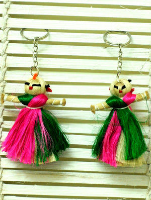 Jute Craft - Doll Keychains (Set of 2) - The India Craft House