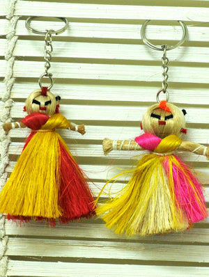 Jute Craft - Doll Keychains (Set of 2) - The India Craft House 1