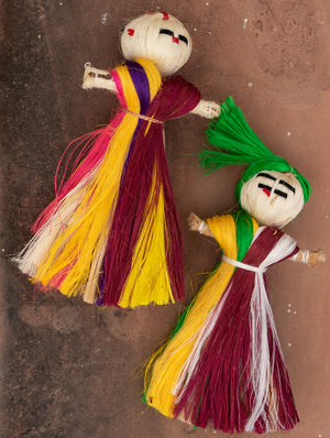 Jute Craft Dolls - Set of 2. Multicoloured. Beautiful dolls entirely handcrafted from jute fibre.