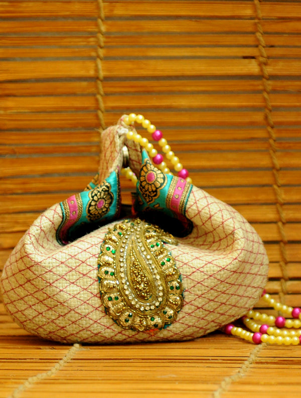 Jute Embellished Potli Bag with Bead Strings - The India Craft House