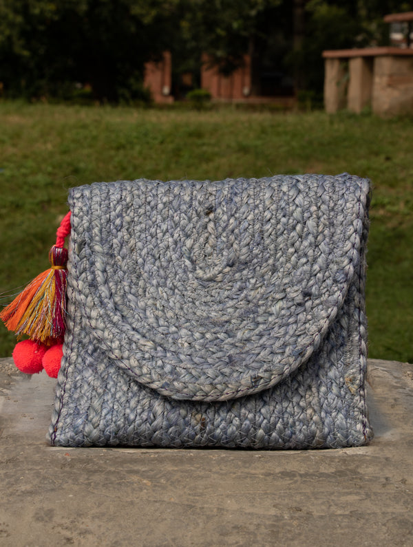 Jute & Fabric Clutch Bag - Small - The India Craft House