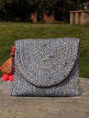 Jute & Fabric Clutch Bag - Small