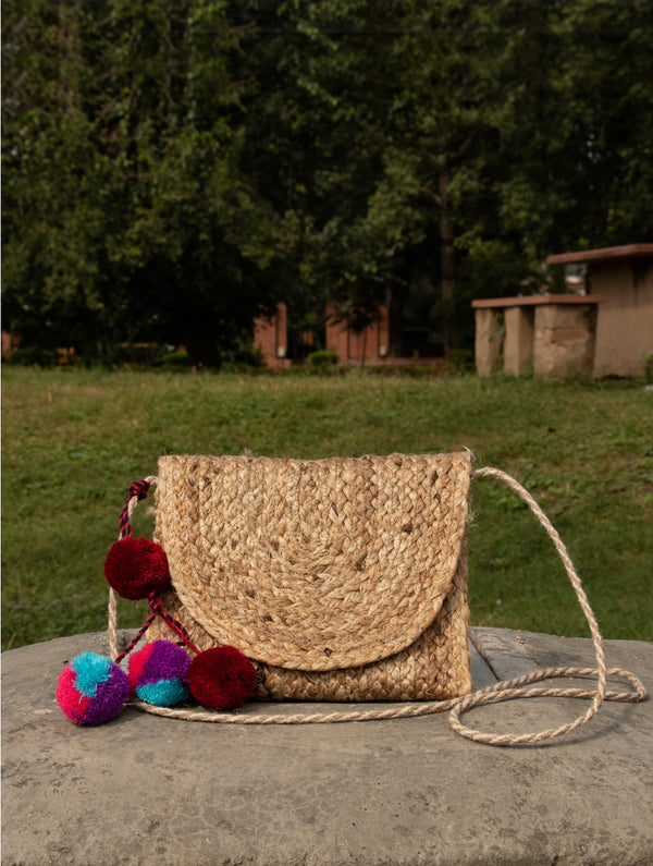 Jute & Fabric Sling Bag - Small - The India Craft House