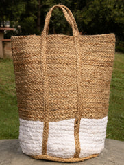 Jute & Fabric Tote Bag - Large Rectangular