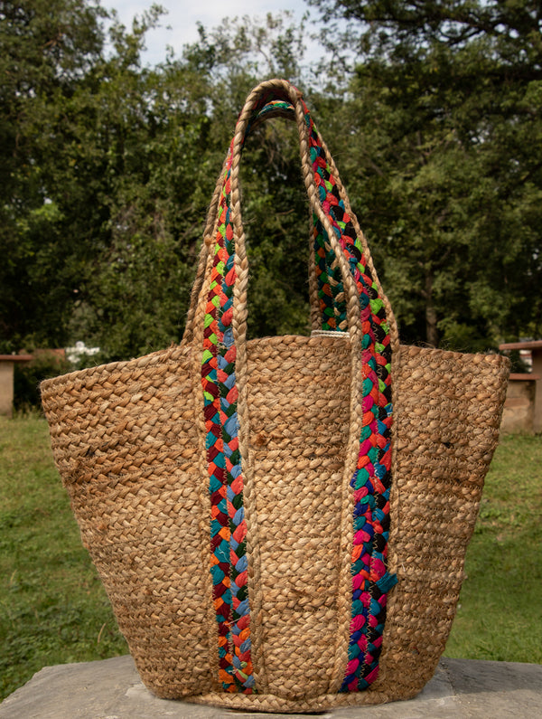 Jute & Fabric Tote Bag - Rectangular - The India Craft House