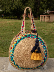 Jute & Fabric Tote Bag - Round