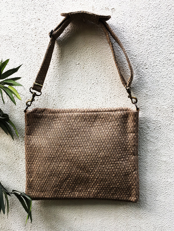 Jute Laptop Bag with Sling - The India Craft House